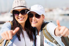 Tourists thumbs up Royalty Free Stock Photos