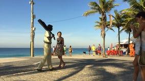 Tourists Time Lapse Tom Jobim Statue Rio Brazil stock video