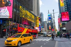 Tourists in Times Square in April,2018 Royalty Free Stock Images