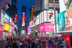 Tourists in Times Square in April,2018 Royalty Free Stock Photo