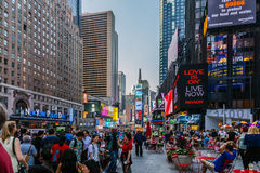 Tourists in Times Square Stock Images