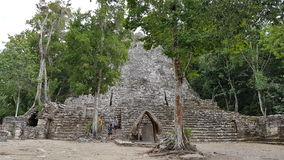 Tourists to the Coba ruins royalty free stock photos