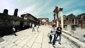 Tourists to the forum of Pompeii stock video