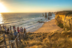 Tourists to the Twelve Apostles on the Great Ocean Road Royalty Free Stock Photography