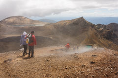 Tourists on Tongariro Alpine Crossing in New Zealand Royalty Free Stock Photography