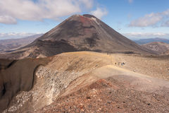 Tourists on Tongariro Alpine Crossing Stock Images