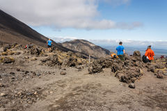 Tourists in Tongariro National Park. In New Zealand Royalty Free Stock Image
