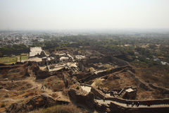 Tourists from top of Golconda Fort, Hyderabad Royalty Free Stock Images