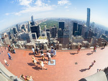 Tourists at the Top of the Rock observation Deck atop the GE Building in New York Stock Image