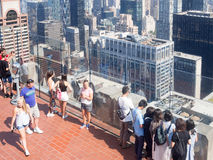 Tourists at the Top of the Rock observation Deck atop the GE Building in New York Royalty Free Stock Images