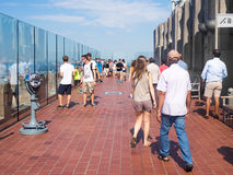 Tourists at the Top of the Rock observatory in New York City Royalty Free Stock Image