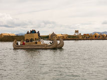 Tourists in the Totora Boat, Titicaca Lake, Peru Royalty Free Stock Images