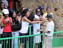 Tourists Touching Python Stock Images