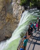 YELLOWSTONE NATIONAL PARK, WYOMING, USA - JULY 17, 2017: Tourists and a tour guide watching Lower Yellowstone Falls. Grand Canyon Stock Photos