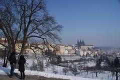 Tourists on a tour through Prague Royalty Free Stock Images