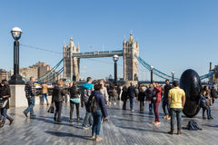 Tourists and Tower Bridge Stock Photos
