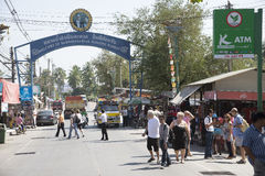 Tourists in the town of Damnoen Saduak Thailand Stock Photo