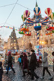 Tourists and townspeople at a Christmas sale at the Red Square Royalty Free Stock Photo