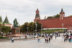Tourists and townspeople have cathedral on the Red Square in Mos Stock Photo