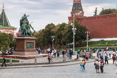 Tourists and townspeople have cathedral on the Red Square Stock Photos