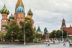 Tourists and townspeople at the Intercession Cathedral Stock Photography