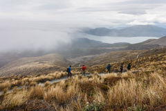 Tourists on track in Tongariro National Park Royalty Free Stock Photography