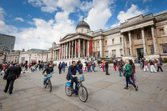 Tourists in Trafalgar Square, London Royalty Free Stock Photography