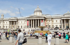Tourists in Trafalgar Square, London Stock Images