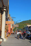 Tourists and traffic along the main road through Gatlinburg, Ten Royalty Free Stock Images