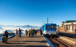 Tourists at train station on the top of Rigi Kulm Stock Images
