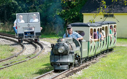 Tourists on trains in Hesston Indiana Stock Image