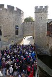 Tourists at Traitors' Gate, Tower of London, England