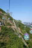 Tourists travel in cable car in the ocean park, Hong Kong Stock Photography