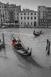 Tourists travel on gondolas at canal Royalty Free Stock Photos