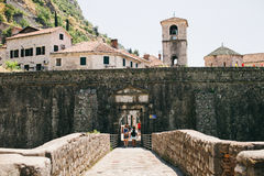 Tourists travel Kotor old town Stock Images