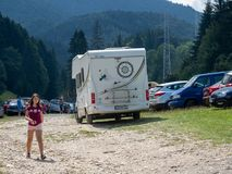Tourists travel with motorhome in Romania Royalty Free Stock Photo