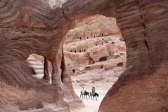 Tourists travel in Petra Stock Images