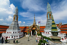 Tourists travel to Wat Phra Kaew and Grand Palace in Bangkok, Thailand. Royalty Free Stock Photos