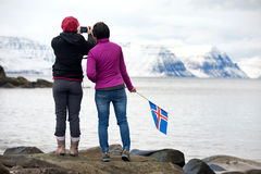 Tourists traveling iceland winter Royalty Free Stock Photos