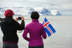 Tourists traveling iceland winter Stock Photos