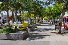 Tourists on a tree lined avenue with shops and cafes in Playa de Las Americas in the island of Teneriffe Stock Photography