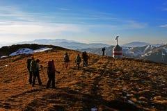 Tourists trekking in the Ciucas mountains, Romania Stock Photo