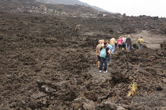 Tourists trekking to the top of Pacaya Volcano royalty free stock photos