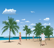 Tourists in tropical beach Stock Photography