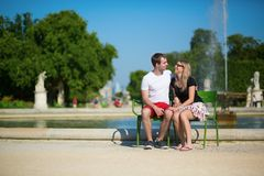 Tourists in the Tuileries garden Royalty Free Stock Image