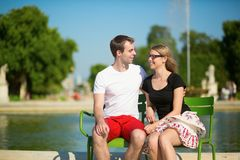 Tourists in the Tuileries garden Stock Photo