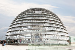 Tourists under  Reichstag dome Royalty Free Stock Images