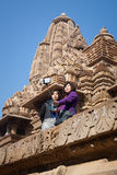 Tourists Using a Selfie Stick at Indian Temple Stock Photography