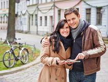 Tourists using tablet PC for Stock Photo