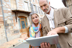 Tourists using tablet during trip Stock Images